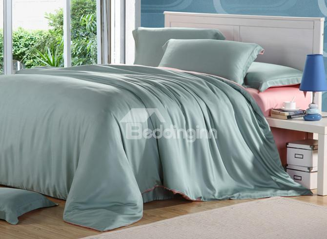 Comfortable Elegant Dark Green 4 Pieces Tencel Bedding Sets