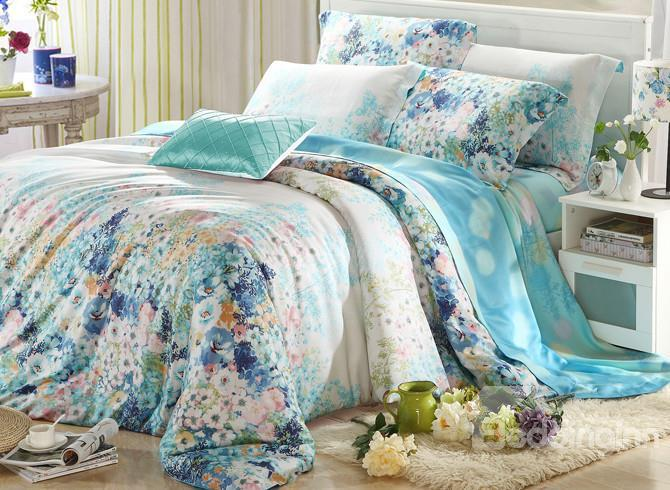 High Quality European Style Charming Floral 4 Pieces Tencel Bedding Sets