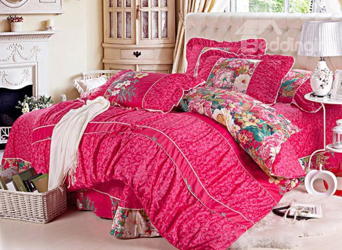High Quality Floral With Lace Festive Red 4 Piece Cotton Bedding Sets