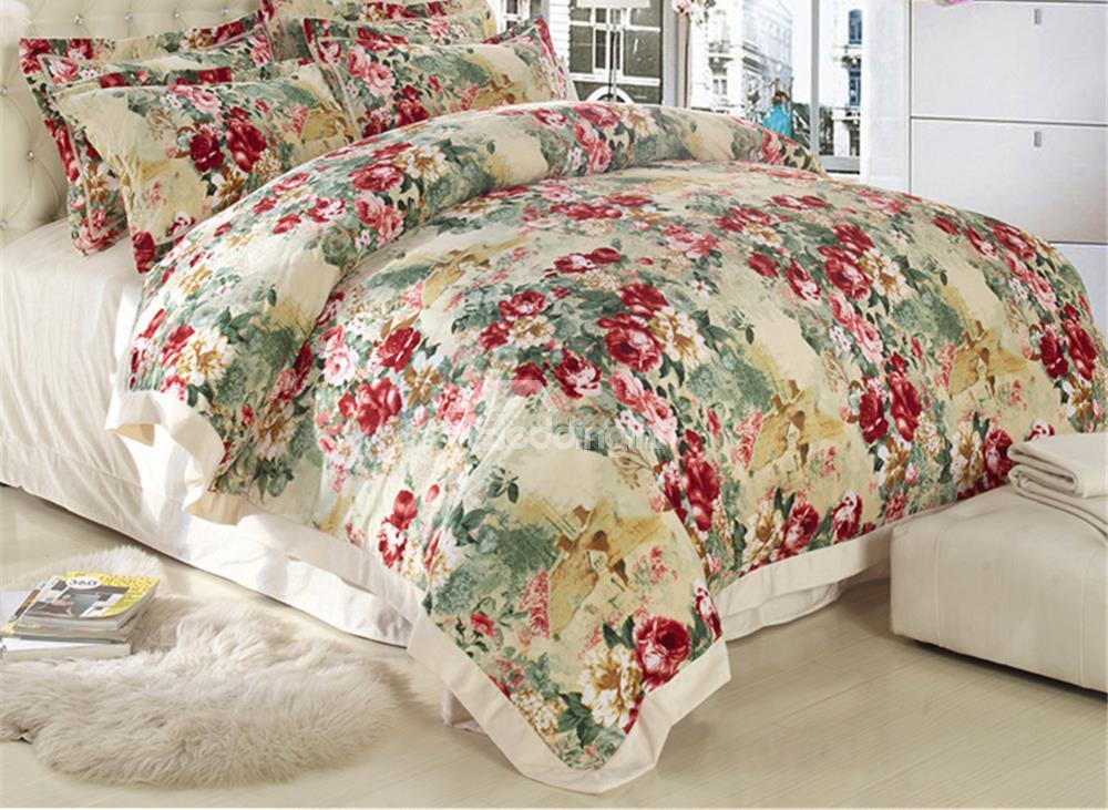 Country Style Flower Print Sandedcloth Material 4 Piece Bedding Sets