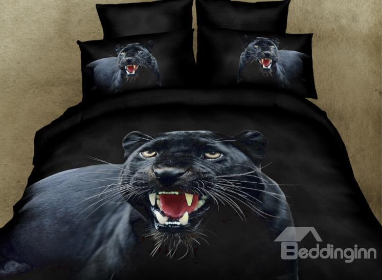 The Roaring Of Black Leopard Print 3d Duvet Cover Sets