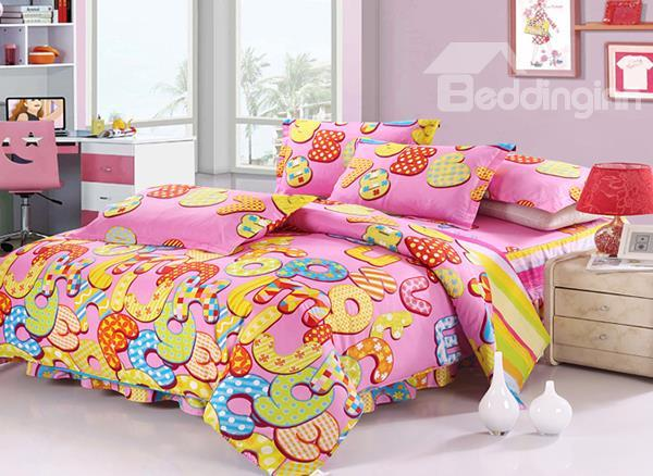 Super Cute Colorful Words Print 4-Piece Cotton Duvet Cover Sets