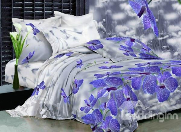 Amazing Lifelike 3d Orchid Print 4 Piece Polyester Bedding Sets
