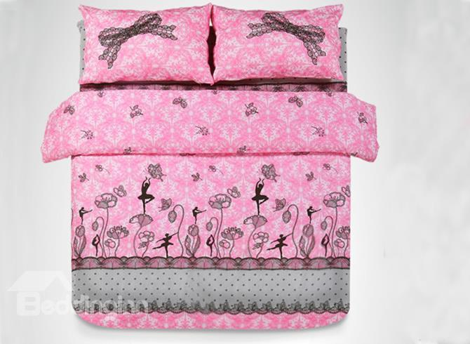 Lace Bow Knot Trim Dancing Girl Print 4-Piece Princess Duvet Cover Sets