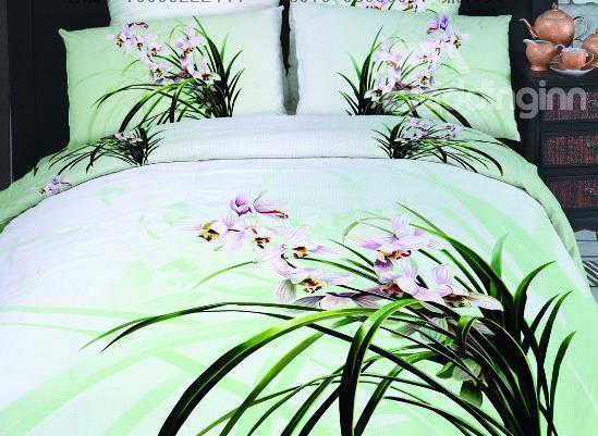 Elegant Orchid Flower Print 4-Piece Cotton Duvet Cover Sets