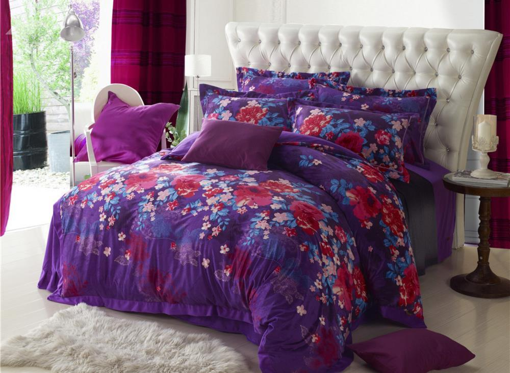 New Arrival Beautiful Flower Print Purple Sandedcloth Material 4 Piece Bedding Sets