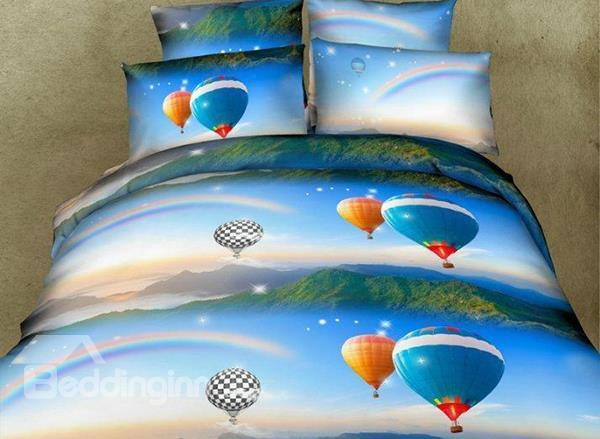 Rainbows And Hot Air Balloon Print 4-Piece Polyester Duvet Cover Sets