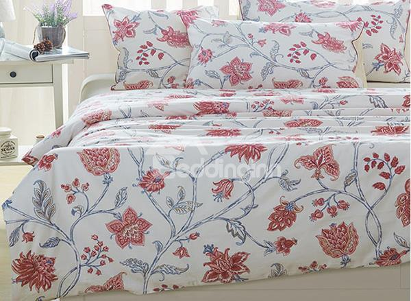 Charming Elegant Pink Floral Print 4-Piece Natural Cotton Duvet Cover Sets