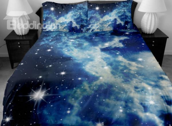 Shining Star And White Clouds Print 4-Piece Duvet Cover Sets