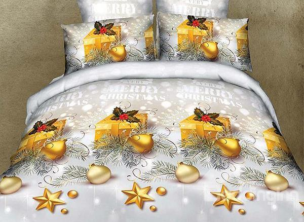 Shining Christmas Gift And Ornament Print 4-Piece Cotton Duvet Cover Sets