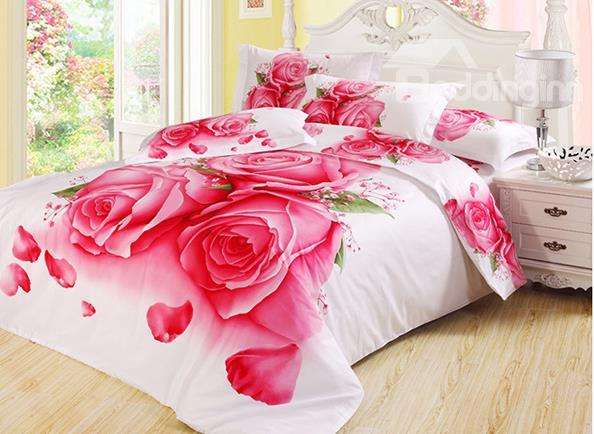 Pink Roses And Flying Petals Print 3d Duvet Cover Sets