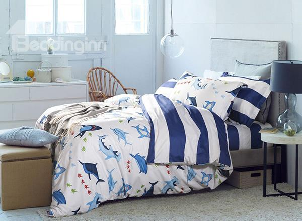 Skincare Dolphin And Little Fish Print 4-Piece Cotton Duvet Cover Sets