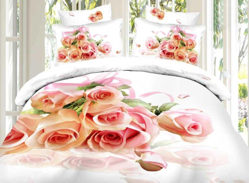 Fragrant Pink Rose Print 4-Piece Cotton Duvet Cover Sets