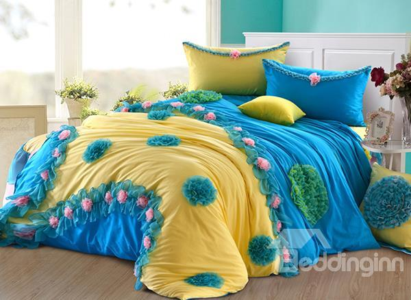 New Arrival Lovely Yellow Color Blue Floral Borders Flower Applique Design 6 Piece Bedding Sets