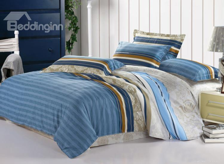 New Arrival 4 Piece Elegant 100%Cotton Stripe Style Bedding Sets