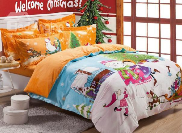New Arrival Christmas Snowman And Tree Print 4 Piece Bedding Sets