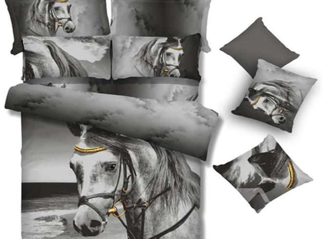 New Arrival 100%Cotton High Quality Vivid Steed Print 4 Piece Bedding Sets