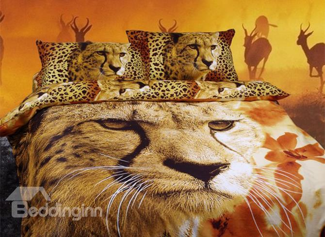Unique Luxury 3d Cheetah Print 4-Piece Duvet Cover Sets