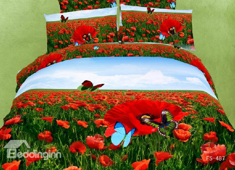 Red Poppy Flower And Butterfly Print 4 Piece Bedding Sets/Duvet Cover Sets