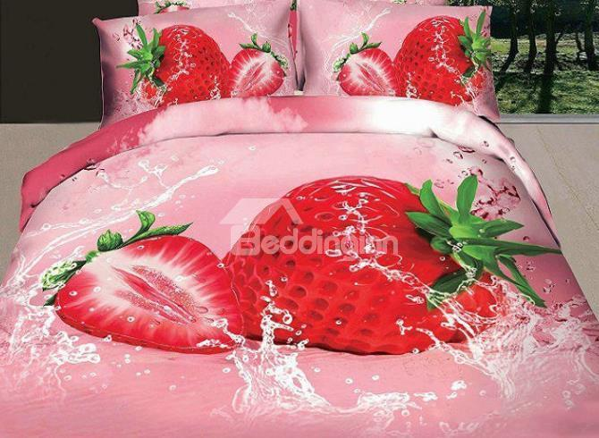 New Arrival Lovely Strawberry In Water Print 4 Piece Polyester Bedding Sets
