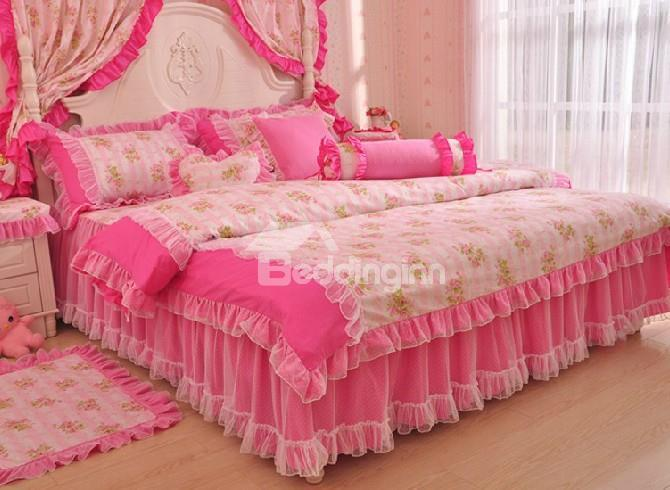 Very Cute Peachblossom Floral Pattern Lace Edging 4-Piece Princess Duvet Cover Sets
