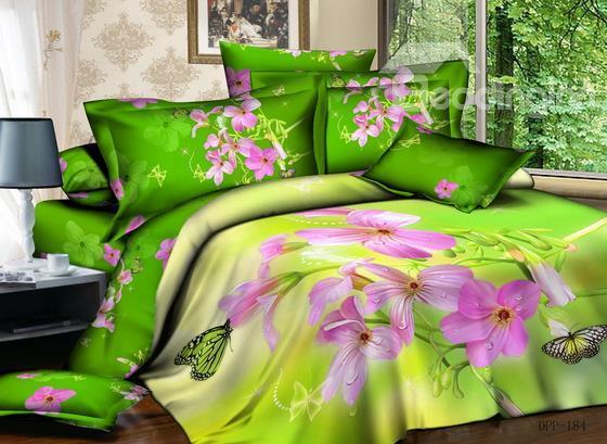 Hot Sell Romantic Love Of Butterflies And Flowers 4 Pieces Bedding Sets