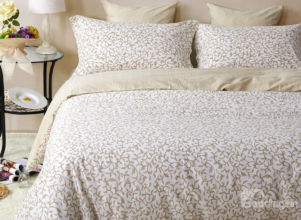Luxury Golden Vine Pattern 4-Piece Cotton Duvet Cover Sets