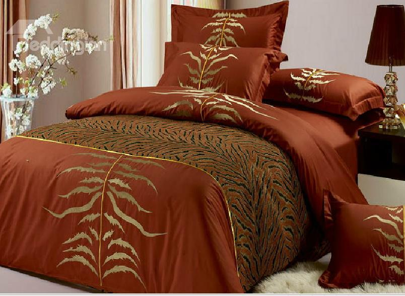 High Class Europe Reembroidered Style 4-Piece Cotton Duvet Cover Sets