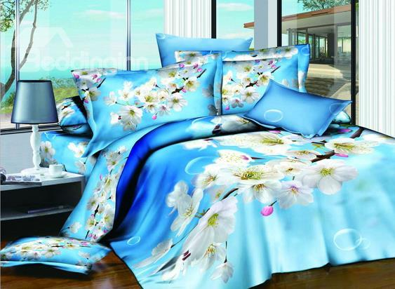 New Arrivals Dreamlike Sky Blue Cherry Flowers 4 Pieces Bedding Sets