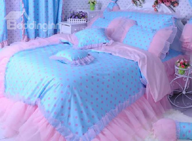 New Arrival Beautiful Pink Dots Print Lace Borders Bed Skirt 4 Piece Bedding Sets