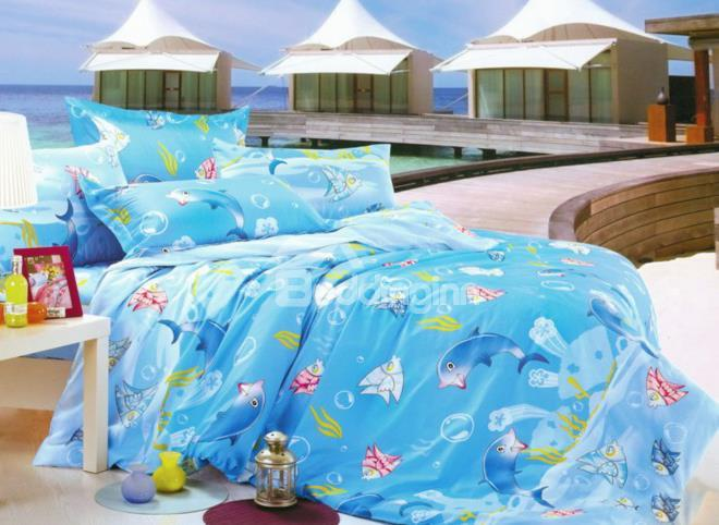 So Cute Dolphin And Fish Print 4-Piece Cotton Duvet Cover Sets