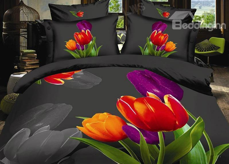 New Arrival High Quality Beautiful Tulip 4 Piece Polyester 3d Bedding Sets