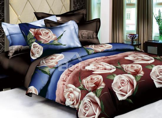 100%Cotton Classic Tone With Blooming Pink Flowers 4 Pieces Bedding Sets