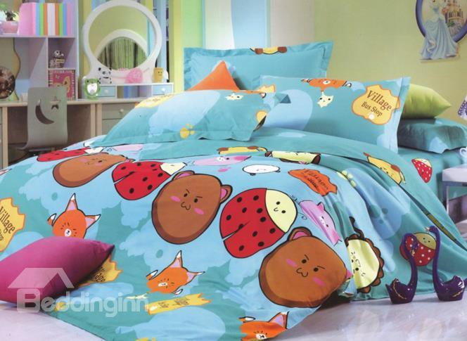 Childlike Cartoon Insects Print 4-Piece Cotton Duvet Cover Sets