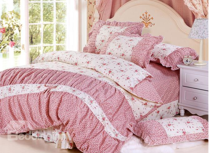 Pastoral White With Red Flower Print And Lace 4 Piece Cotton Bedding Sets