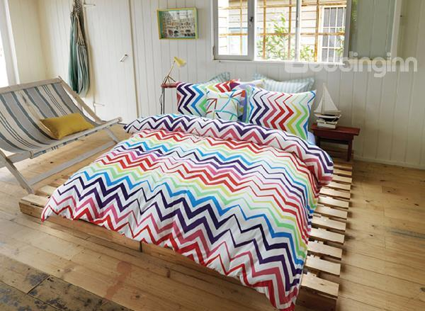 Chevron 4-Piece Reversible Long-Stapled Cotton Duvet Cover Sets