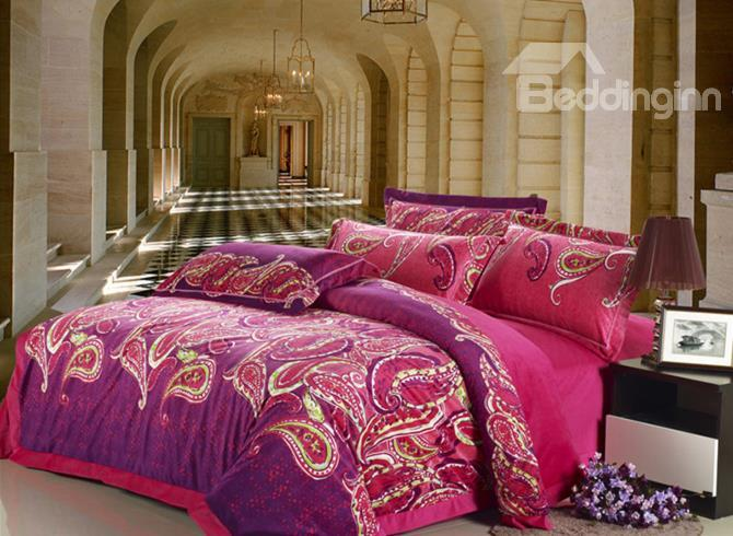 Brighten Fashion Modern Abstract Print Sandedcloth Material 4 Piece Bedding Sets