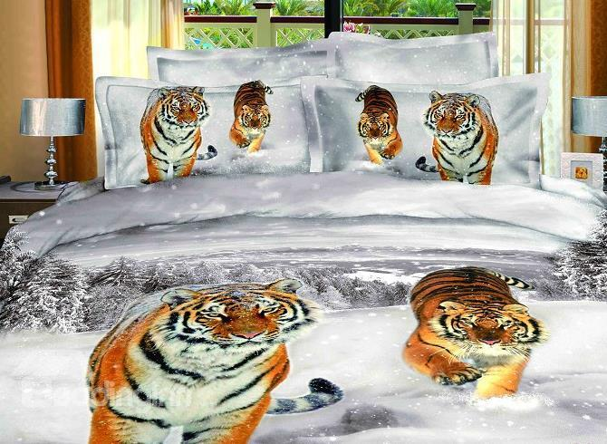 Tiger In Snow With Winter Scene Lifelike 3d Print 4 Piece Duvet Cover/Bedding Sets