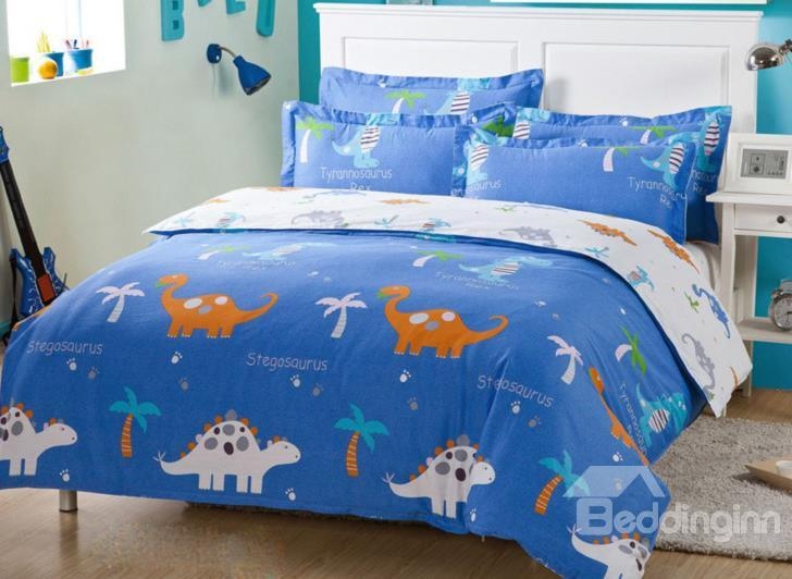 Very Comfortable Dinosaur Baby Print 4-Piece Cotton Duvet Cover Sets