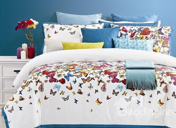 Beautiful Flying Butterflies Print 4-Piece Cotton Duvet Cover Sets