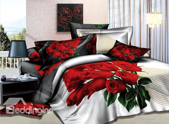 Gorgeous Red Rose Printed 4 Piece Cotton Bedding Sets 10489837)