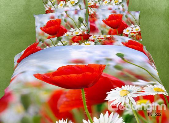 Red Poppy And White Daisy Flower Print 4 Piece Bedding Sets/Duvet Cover Sets