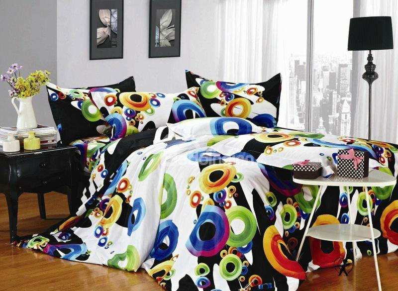 Modern Colorful Circle Print 4-Piece Cotton Duvet Cover Sets