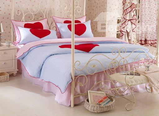 New Arrival Korean Style Red Heart 100%Cotton Duvet Cover Sets
