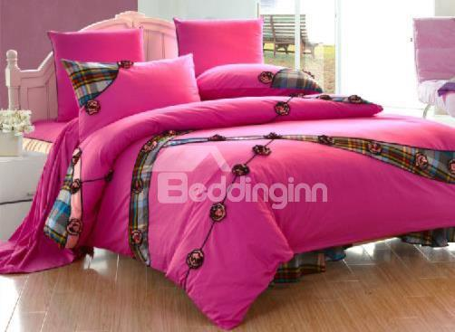 New Arrival 100%Cotton Princess Style Embroidered Beautiful Lace Fuchsia 6 Piece Bedding Sets