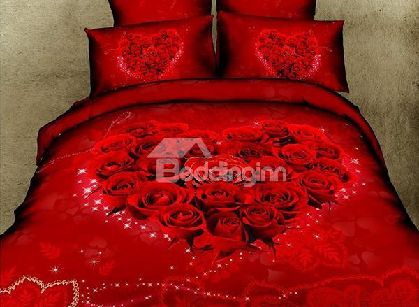 Romantic Vigorous Red Rose Pattern 4-Piece Cotton Duvet Cover Sets