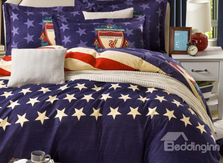 Fashionable American Flag Print Reversible 4-Piece Cotton Duvet Cover Sets