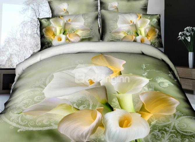 New Arrival 100%Cotton Elegant Lily And Calla Flowers Print 4 Piece Bedding Sets