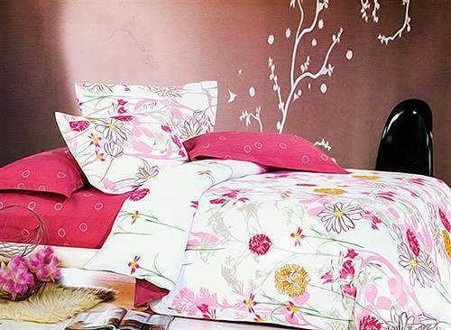 Sweet Flower Print 4-Piece Cotton Duvet Cover Sets