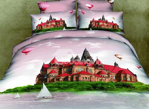 New Arrival Top Class 100%Cotton Paris Castle 3d Printed 4 Piece Bedding Sets